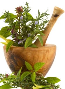 Healing herbs and edible flowers (handcarved olive tree mortar and pestle)