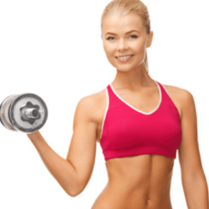 lady holding a dumbell