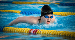female swimming